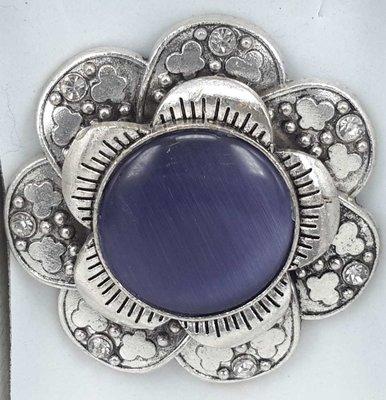 Magneet Broche, metaal, vlinderbloem, blauw kattenoog, strass