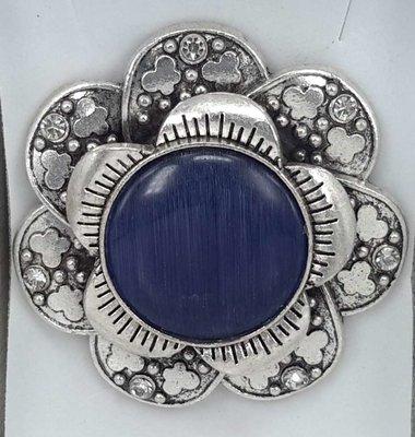 Magneet Broche, metaal, vlinderbloem, donker blauw kattenoog, strass