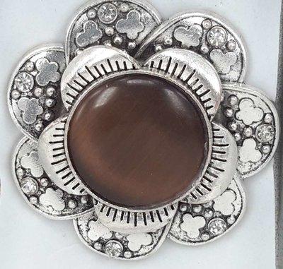 Magneet Broche, metaal, vlinderbloem, bruin kattenoog, strass