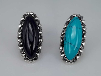 Zilverkleurig antiek look Howliet edelsteen kleur turquoise, zwart. doos 50 stuks.