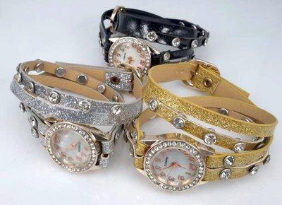 Armband horloge, PU leren wrap (2), zirkonia, strass, 3 glitterkleuren