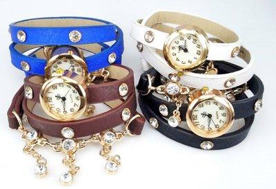 Armbandhorloge, PU leren wrap (3), goudkleur, schakelkettinkje, zirkonia's, 4 kleuren