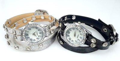 Armband horloge, PU leren wrap (2), zirkonia, strass, 2 kleuren