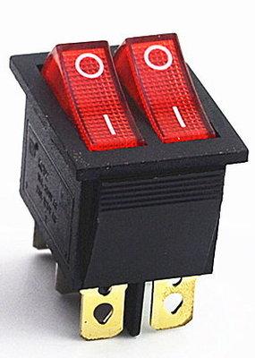 Wip schakelaar dubbel, 6 pins, koper, met afdekkapje
