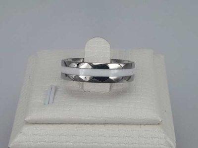 Edelstaal Ringen, hoekig, witte band, doos 36 St