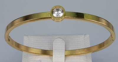 Edelstaal smalle slaaf Armband goudkleurig met 5 mm kristal.