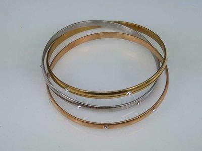 Set ( zilver,goud,rose kleur ) edelstaal slaaf Armband met 6 kristal omheen.
