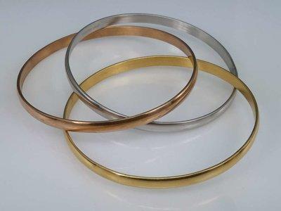 Set ( zilver,goud,rose kleur ) edelstaal gladde slaaf Armband.
