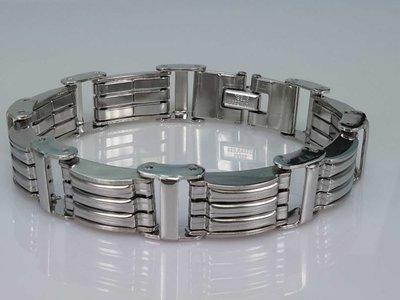Edelstaal schakelarmband, 8 geribbelde platen schakel