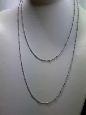 Edelstaal fijne schakel met balletjes ketting, L 45 cm
