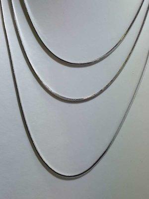Edelstaal vierkant slangenketting, L 45 cm