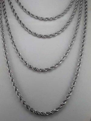 Edelstaal koord ketting, L 50 cm