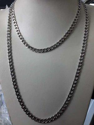 Edelstaal breed Gourmetschakel ketting, L 70 cm