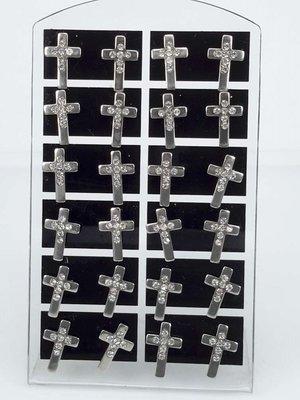 Edelstaal Oorsteker,kruis met strass, display van 12 paar.