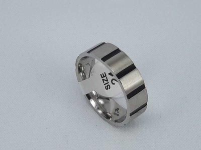 Edelstaal Ringen, brede ring met zwart streep , maat 25