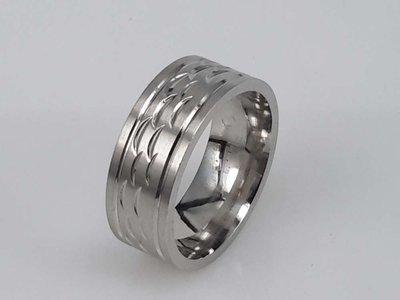 Edelstaal Ringen, zilver golvend motief, doos 36st