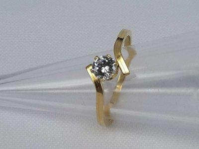 Edelstaal Ringen goudkl smal, 4mm zirkonia, doos 36 st