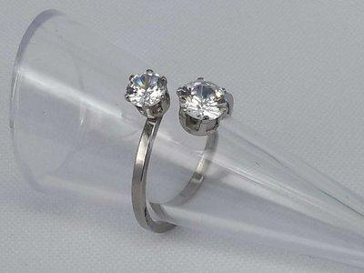 Edelstaal Ringen zilverkleurig dubbel zirkonia, doos 36 st