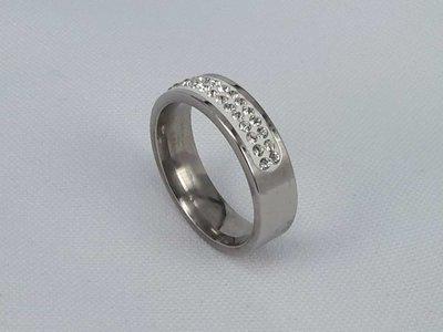 Edelstaal Ringen zilverkleurig half rond omheen met dubbel rijen zirkonia, doos 36 st
