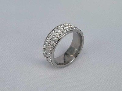 Edelstaal Ringen, 3 strass rijen, doos 36 st