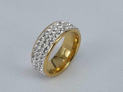 Edelstaal Ringen, Goudkleurig 3 strass rijen, doos 36 st