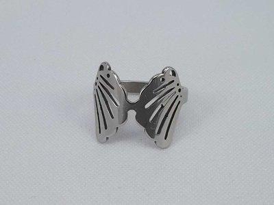 Edelstaal Ringen zilverkleurig ring met 2 vleugel motief, doos 36 st
