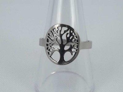 Edelstaal Ringen zilverkleurig levensboom motief, doos 36 st