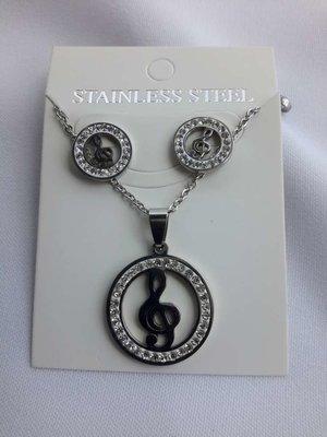 Set edelstaal sieraden muzieknoot met strasse steentjes.