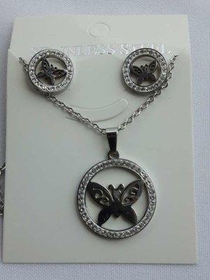 Set edelstaal sieraden vlinder met strasse steentjes.