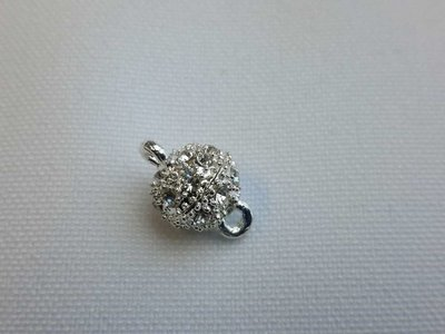 Magneetslot 9 mm zilverkleur met strass