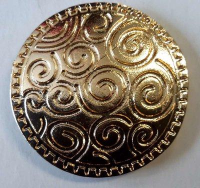 Magneet Broche, Krullen rond, goudkleur.