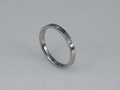 Edelstaal Ringen, small ring met 3 zirkonia steentjes, doos 36st