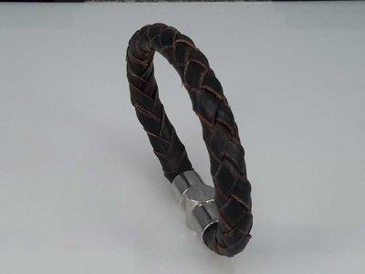 Leren armband zwart/bruin, rond gevlochten, magneetsluiting