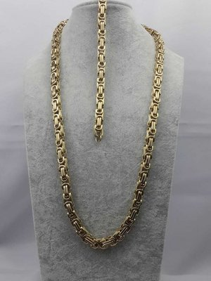 Koningsset, rvs edelstaal, vierkante schakel, goudkl