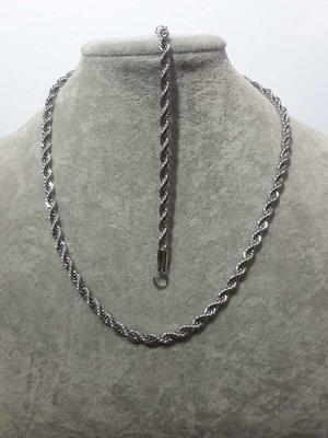 Set, Edelstaal, koord kettingen 45 cm + armband 18-20 cm