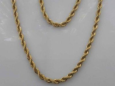 Set, Goudkleurig edelstaal, koord kettingen 45 cm + armband 18 of 20 cm