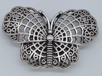 Magneet Broche, Vlinder, zilverkleur.