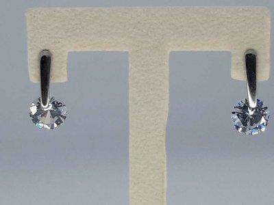 Edelstaal zilverkleurig Oorsteker met rond 9 mm topkwaliteit kristal.