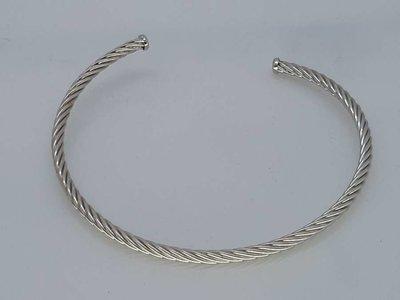 Flex Slaven-Armband open, gedraaid, edelstaal