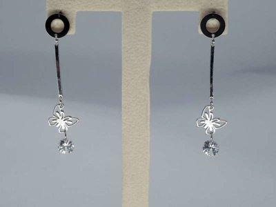 Oorstekers rvs, O ring, staafje, vlinder, kristal