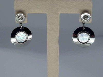 Oorstekers rvs, dikke O ring + kristaldiamand, parelmoer O-disc