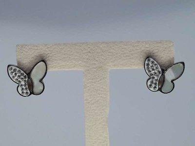 Oorstekers rvs, vlinder parelmoer strass
