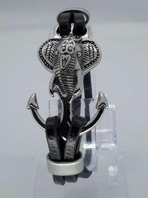 Leren-Armband zwart, 3 riem, rvs olifantenkop anker, haaksluiting