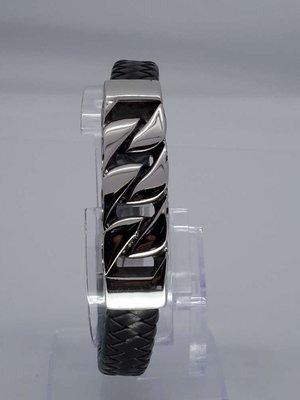 Leren-Armband zwarte vlecht, rvs schakel