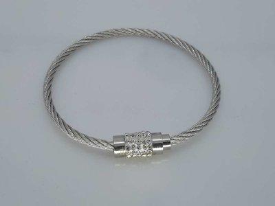 Kabel Armband 19cm, kristallen, edelstaal