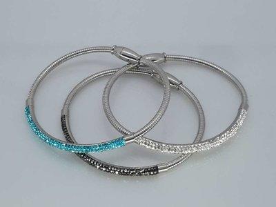 Flex Armband 18cm, 3 kristalrijen in kleur, edelstaal