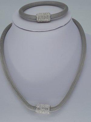 ketting & armband, mesh, edelstaalset