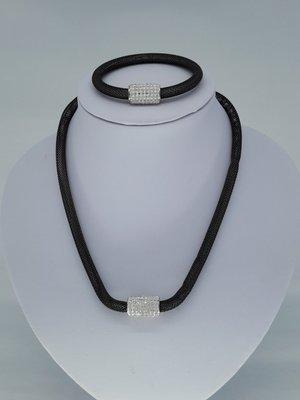 ketting & armband zwart, mesh, edelstaalset