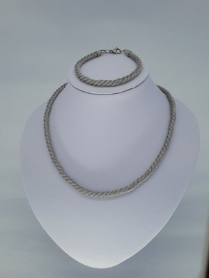 ketting & armband, mesh gedraaid, edelstaalset