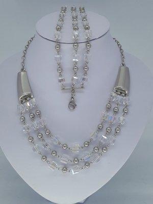 ketting & armband, kristalblok, kogeltje, edelstaalset